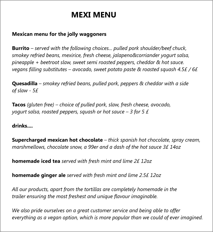 Jolly Waggoners Mexi Menu