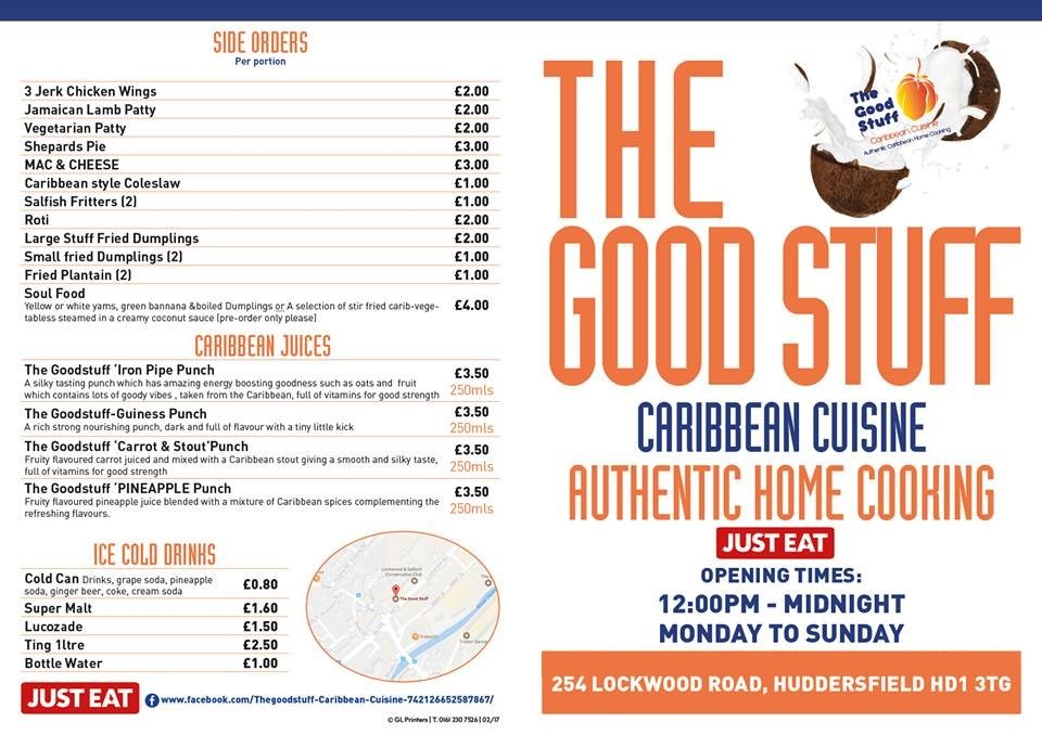 The Good Stuff Caribbean Food Menu Front